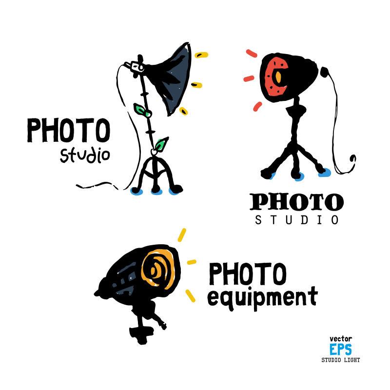矢量创意摄影工作室设备图标设计