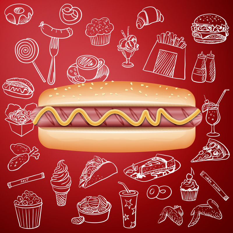 手绘风格的墨西哥食物矢量插图