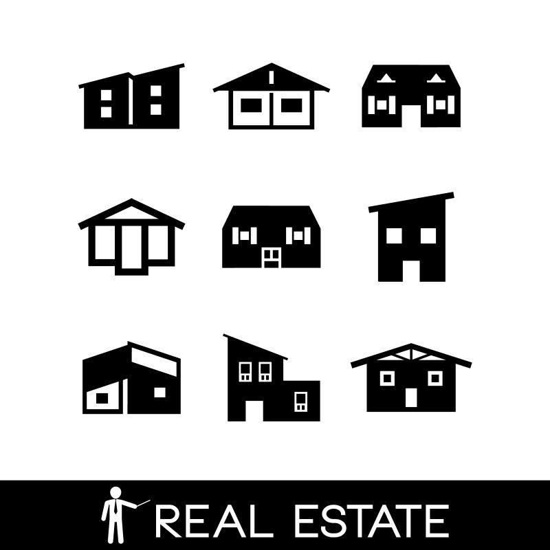 创意单色房子图标设计矢量