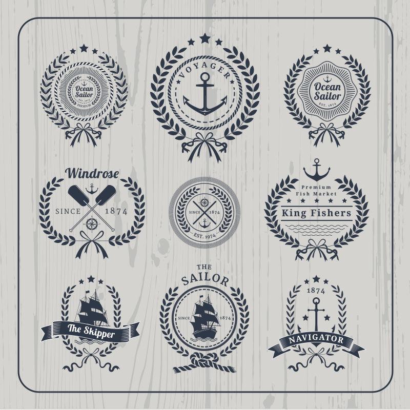 矢量航海标签图片素材_创意矢量老式航海船锚标签插画