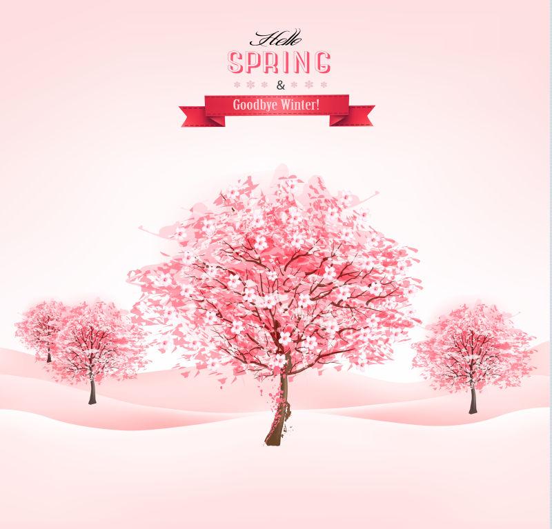 盛开的樱花树矢量背景