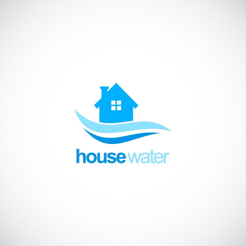 矢量创意房屋供水标志设计