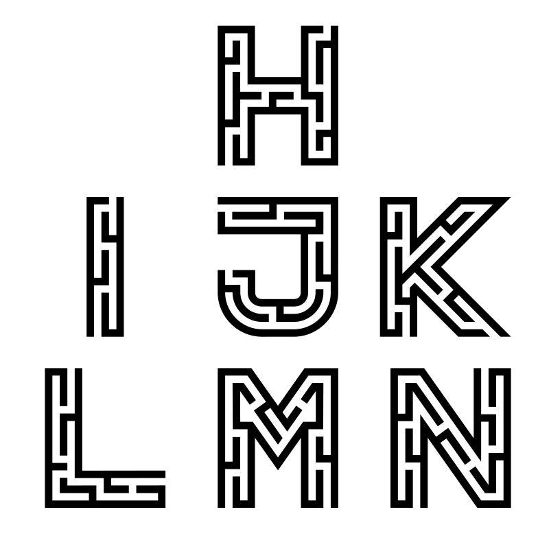 迷宫样式的矢量文字