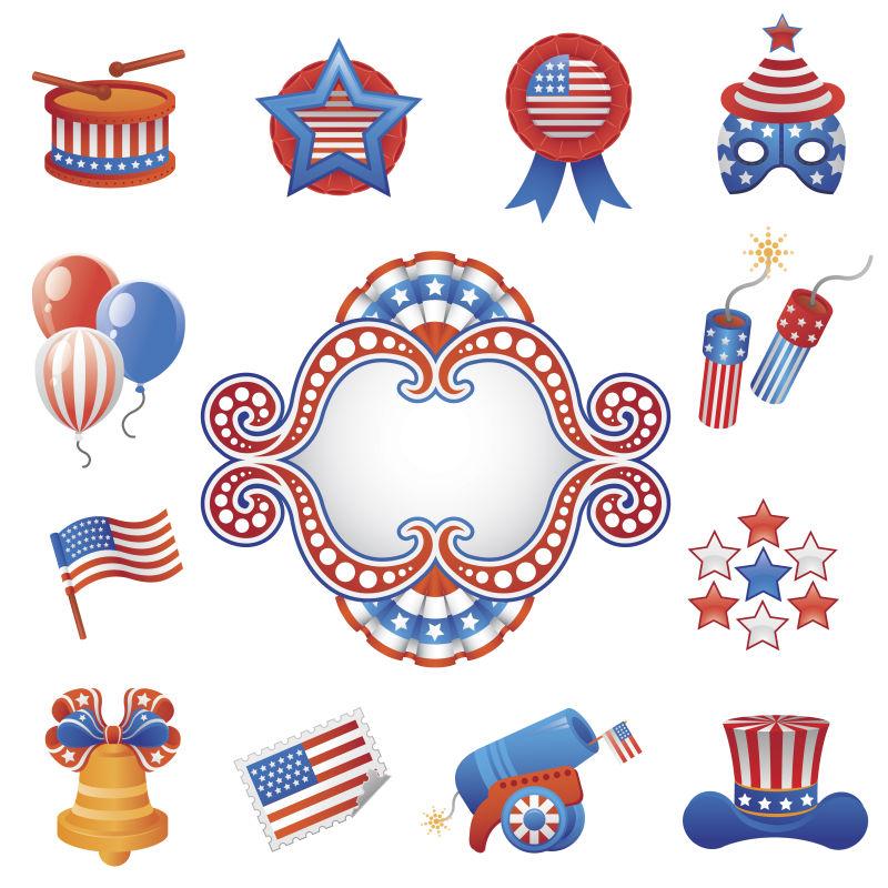 矢量美国国旗概念的独立日背景