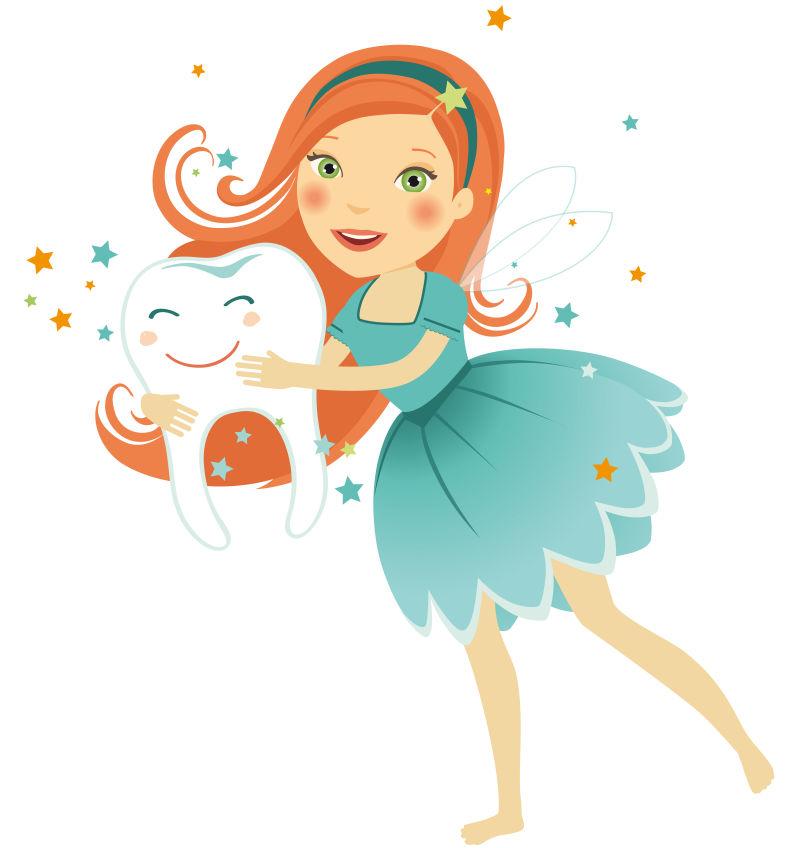矢量卡通抱着牙齿的牙仙女