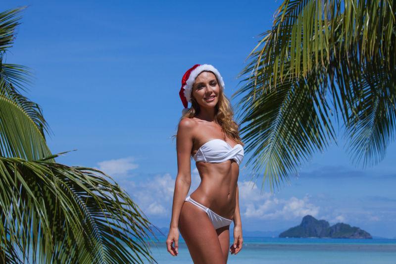 比基尼女子用棕榈树在热带海滩庆祝圣诞节