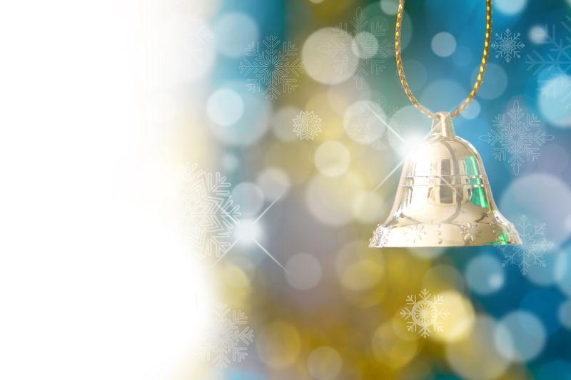 金色的闪光圣诞铃铛