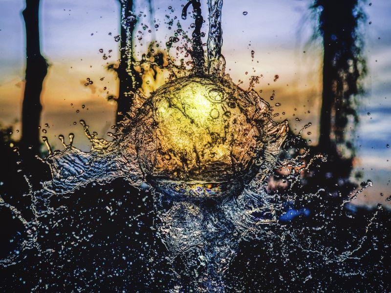 雨后透过阳光的水珠