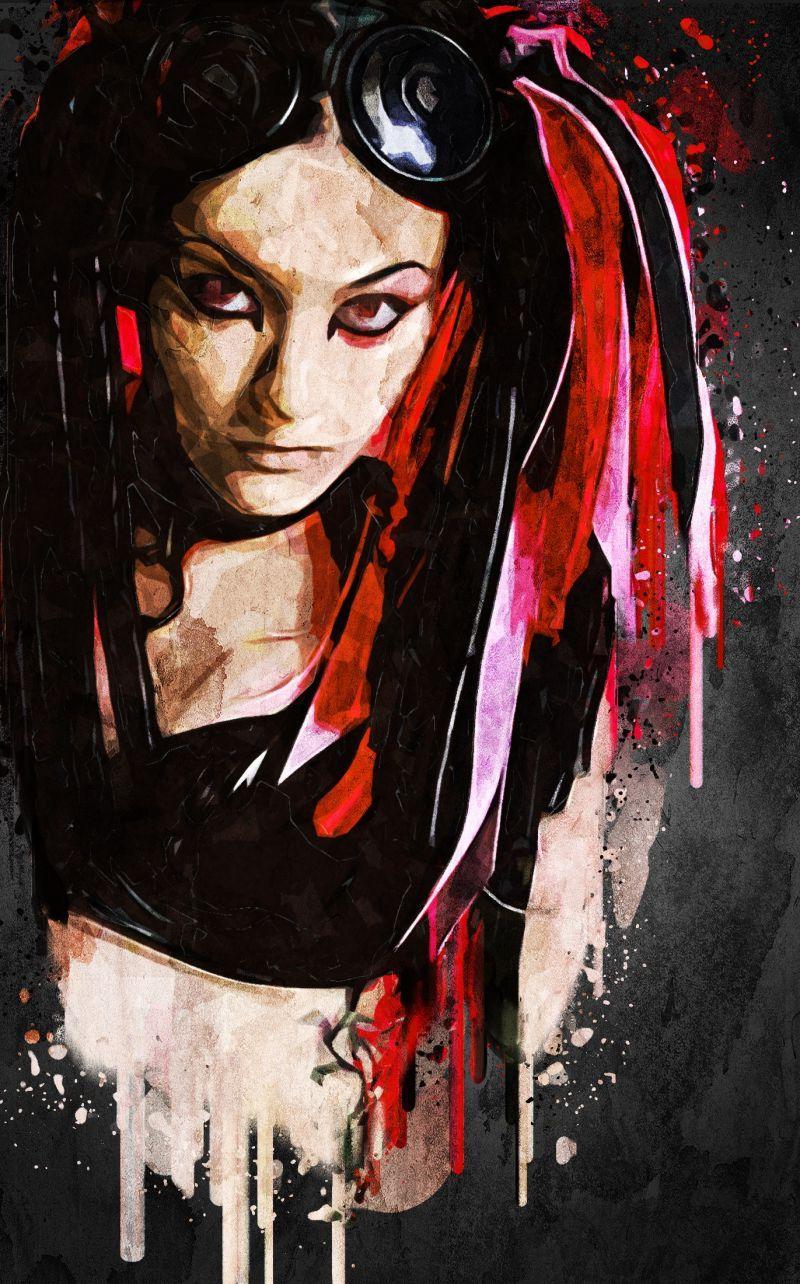 黑色背景上另类风格美女手绘肖像