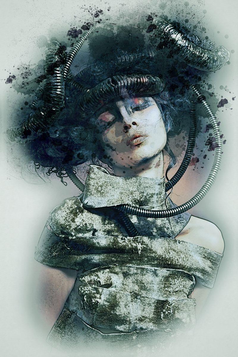 机械科技风格的手绘美女肖像