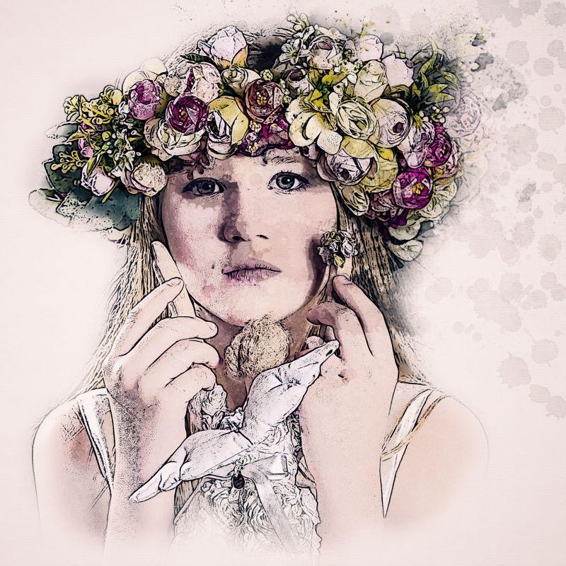 戴花环的手绘美女肖像