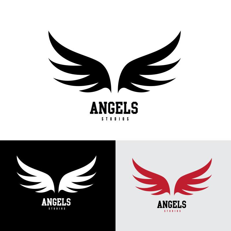 矢量展开的恶魔翅膀标志设计