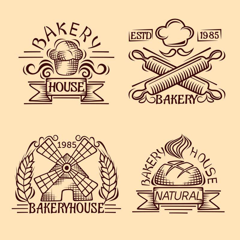 老式面包店标签矢量设计图片素材-矢量的面包店标签
