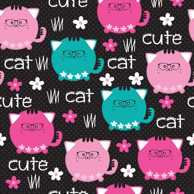 矢量可爱胖乎乎的猫咪背景