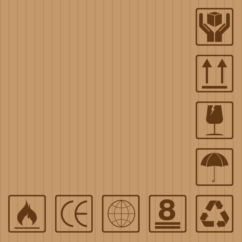 包装运输警示标志_矢量的纸箱标志图片-纸箱上的标示矢量插图素材-高清图片-摄影 ...
