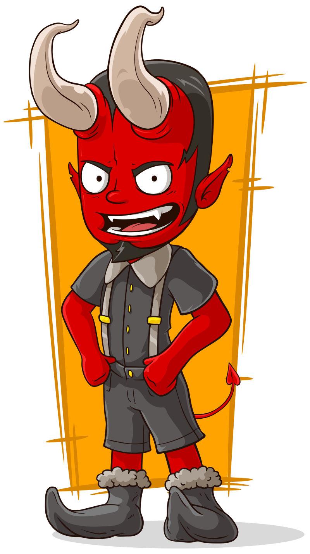 卡通红色恶魔矢量插图
