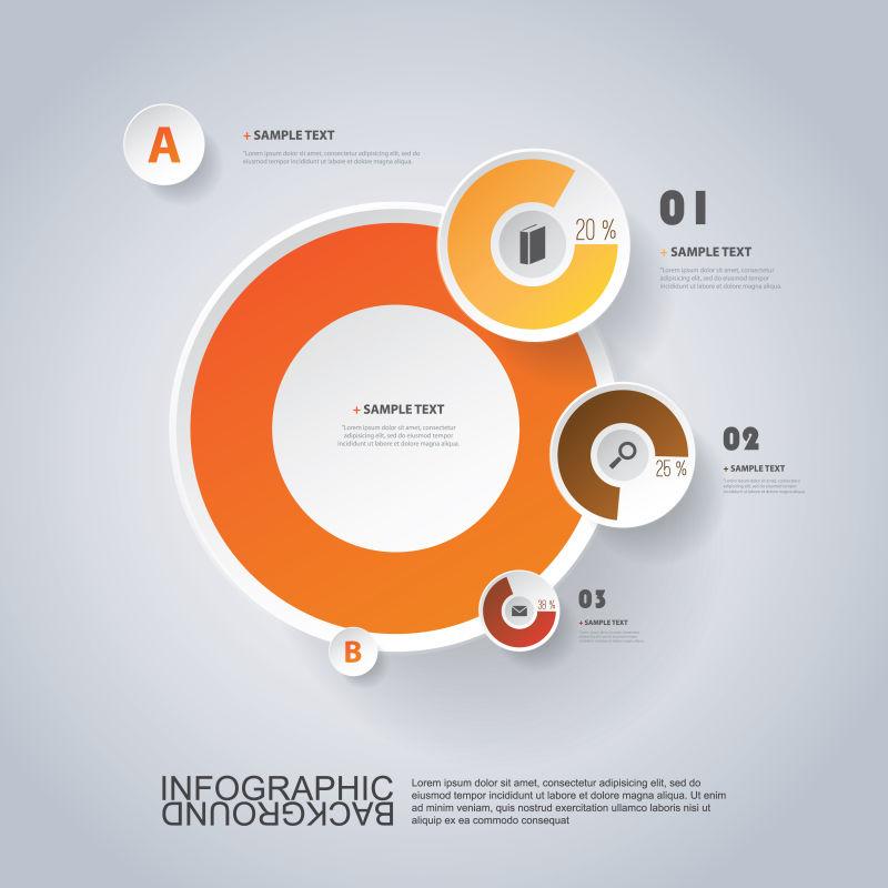 橘色圆环信息表矢量设计