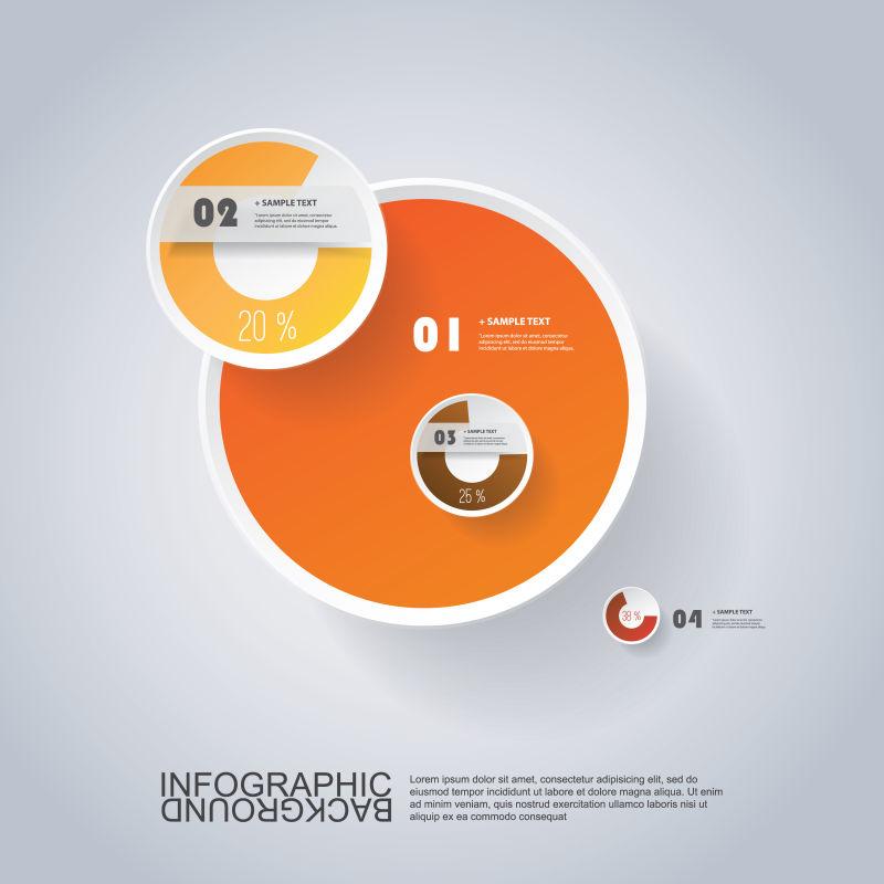 矢量的橘色圆形图案信息表