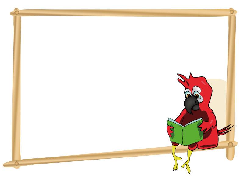 创意卡通鹦鹉的矢量边框设计