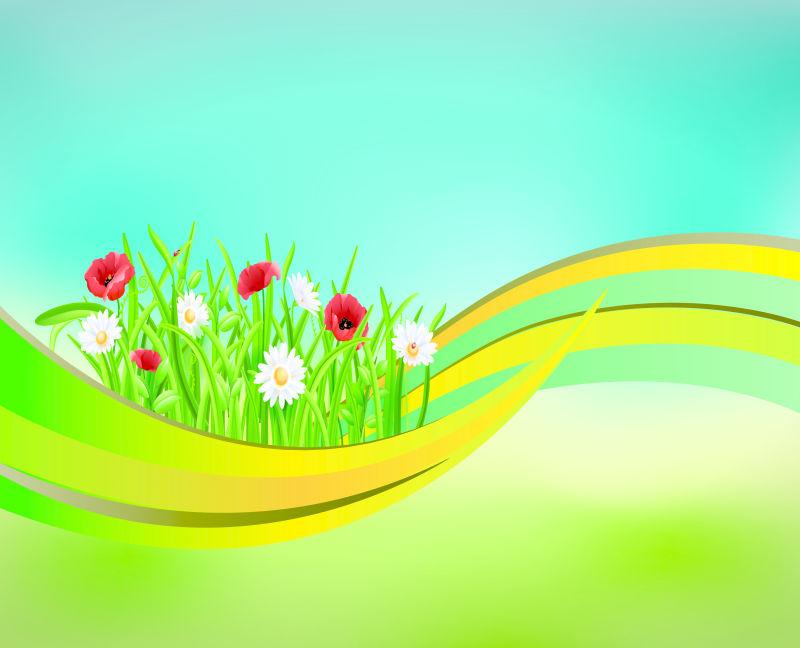 绿色弧线上的花朵