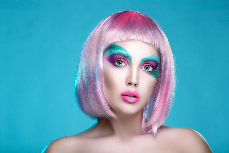 创意夸张彩妆图片素材-彩色创意夸张彩妆创意图片-jpg