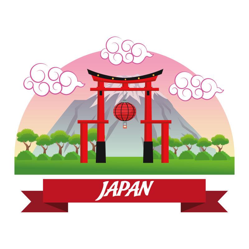 矢量的日本拱门插图