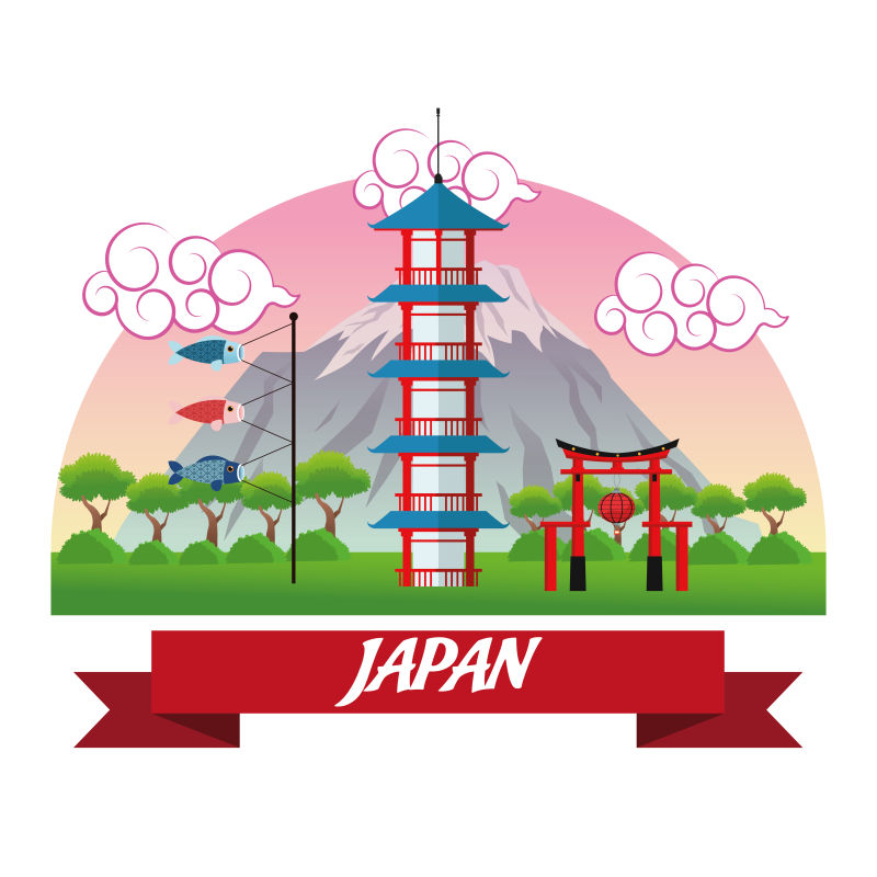 矢量的日本塔楼插图