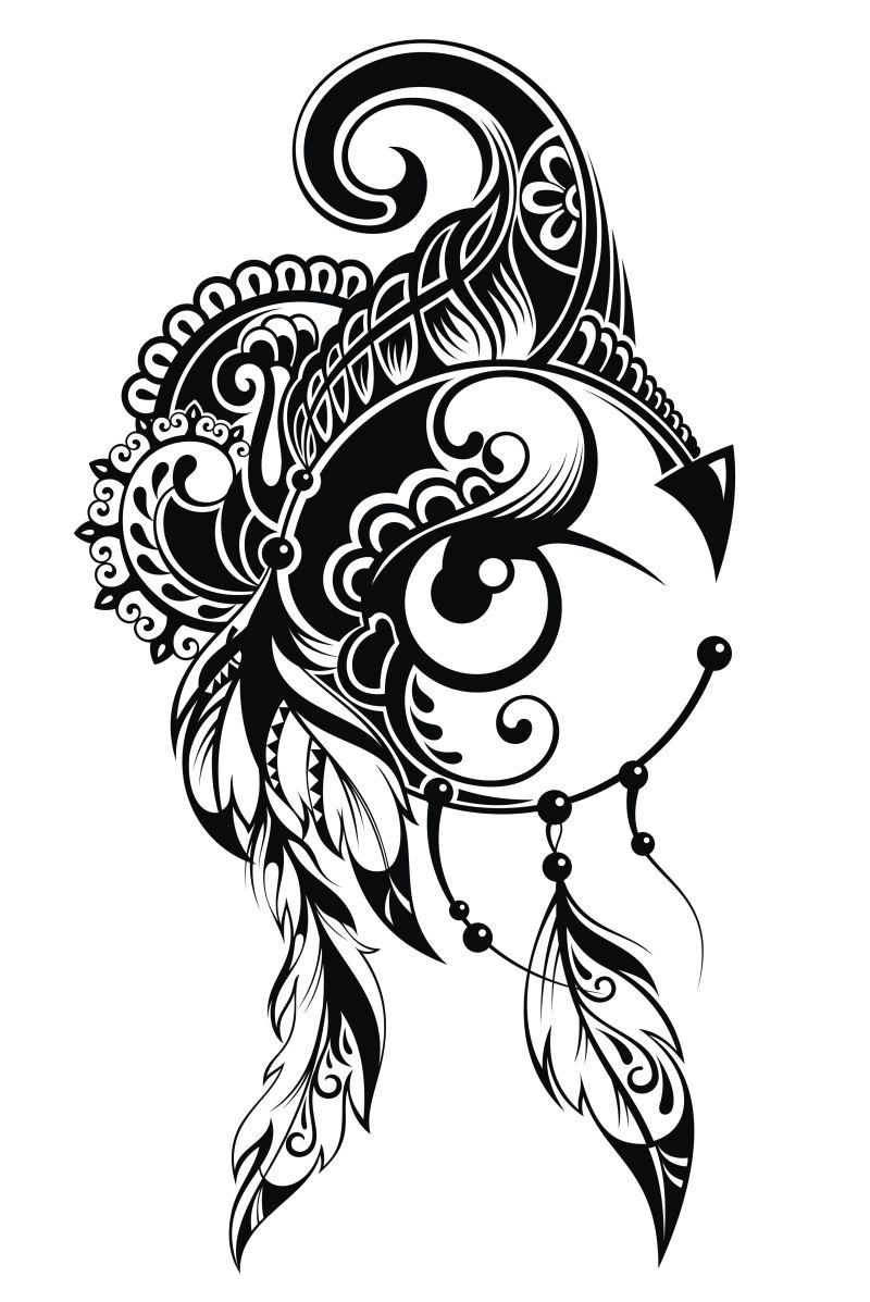 纹身的印度矢量v纹身图片素材-印度纹身鼻子设如何绘制真人嘴和矢量图片