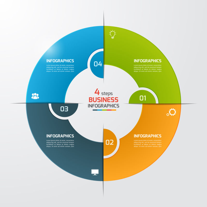 彩色的环形信息图表矢量设计