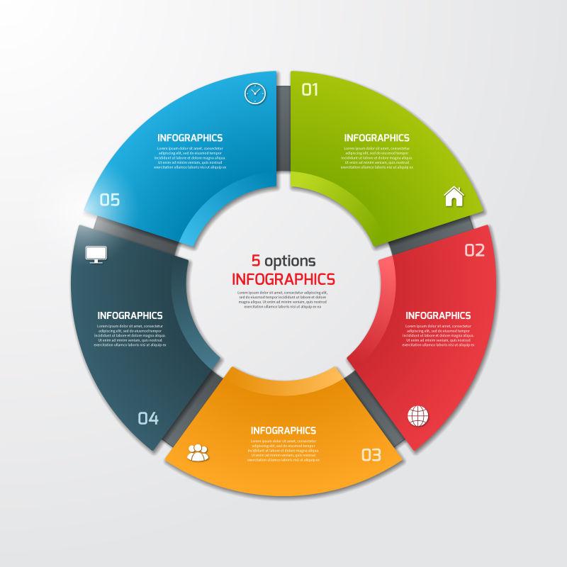 饼图循环信息图表矢量设计
