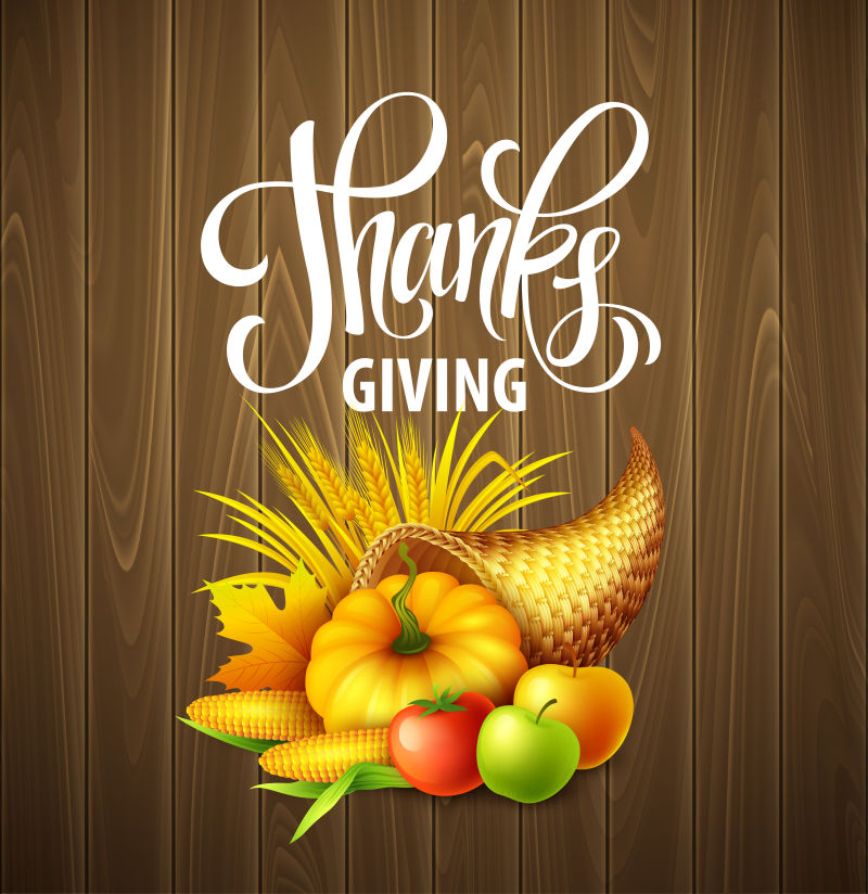 创意丰收果蔬元素的矢量感恩节海报设计