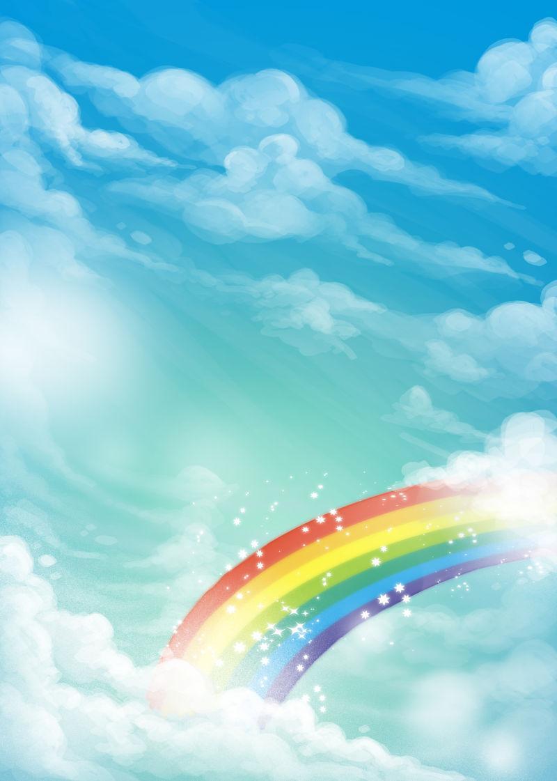 天空中美丽的五颜六色的夏日彩虹