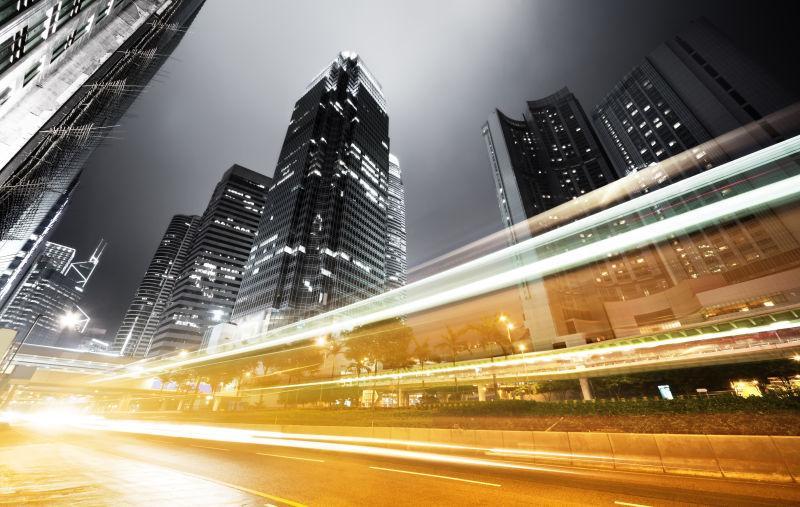 晚上在城市香港交通