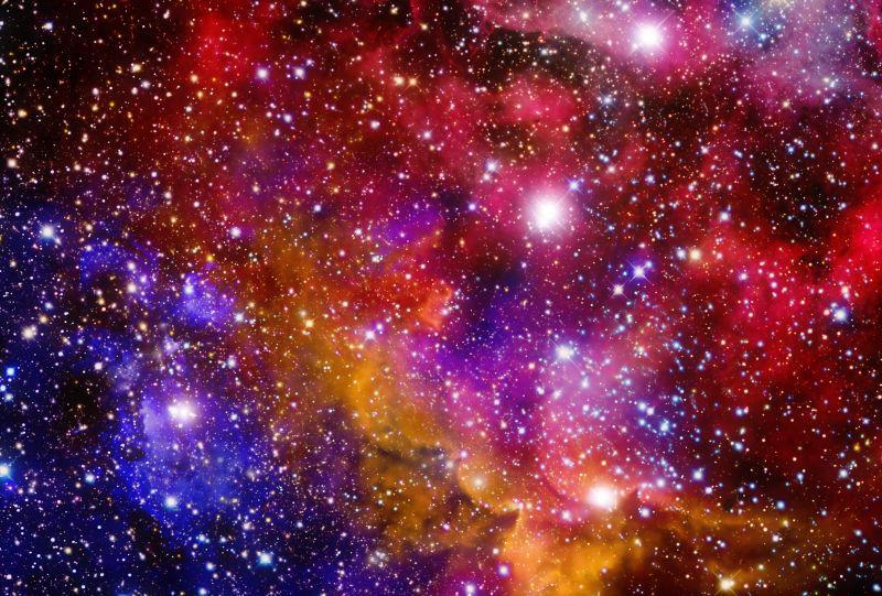 在自由空间中的行星和星系的恒星