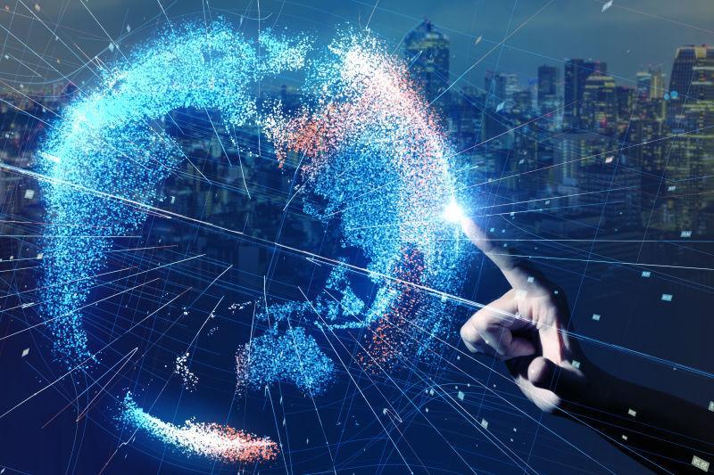 手指触摸全球网络概念