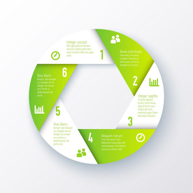 绿色圆形信息图表矢量设计