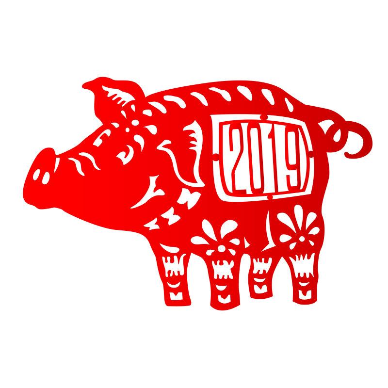 矢量设计2019猪年剪纸