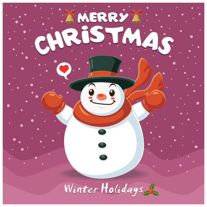 老式圣诞海报设计与雪人性格矢量