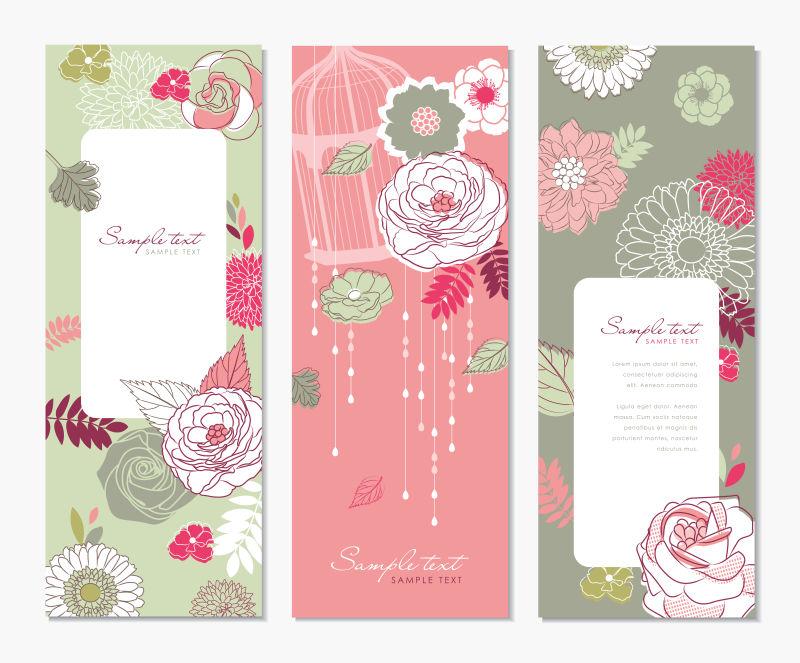 手绘花卉元素的矢量装饰卡片设计