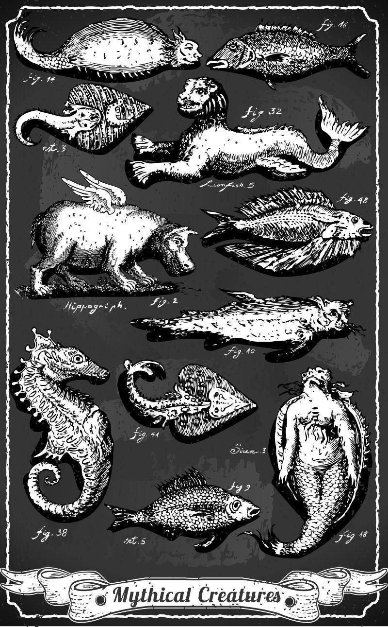 黑板上的神话生物矢量横幅