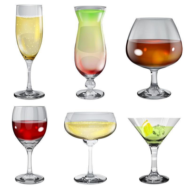 装有鸡尾酒的玻璃杯矢量插图
