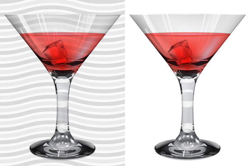 盛有红色鸡尾酒的酒杯矢量插图
