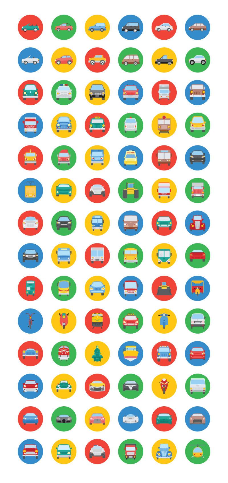 抽象矢量交通工具图标设计