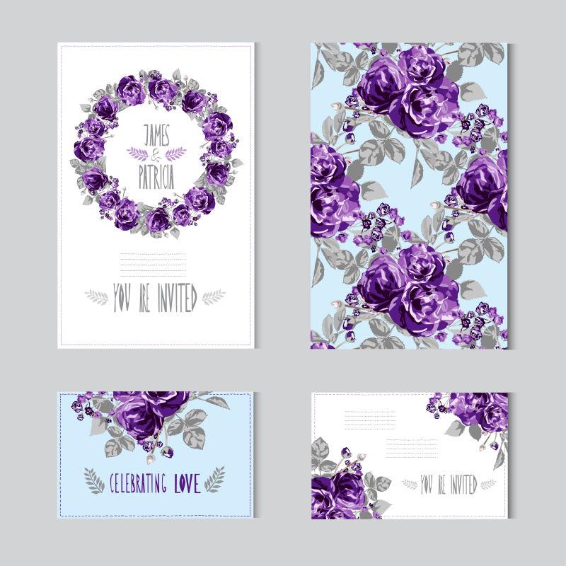 创意矢量紫色花卉元素卡片设计