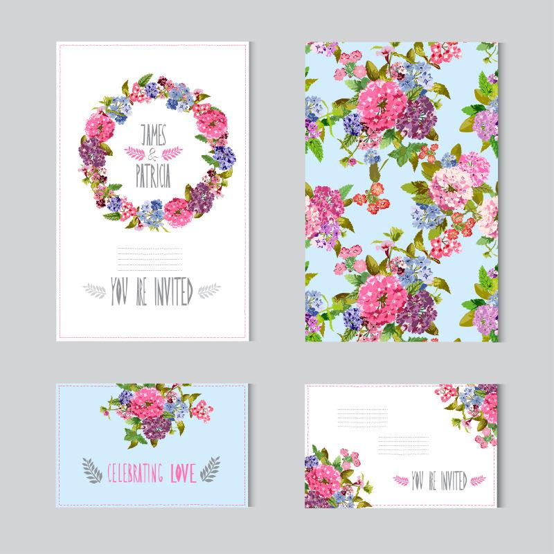 矢量粉红玫瑰元素的装饰卡片设计