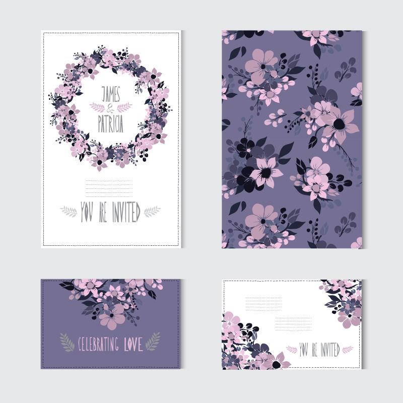 创意矢量紫色花卉元素的卡片设计