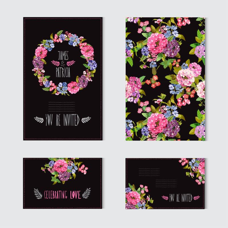 矢量花卉元素的装饰卡片设计
