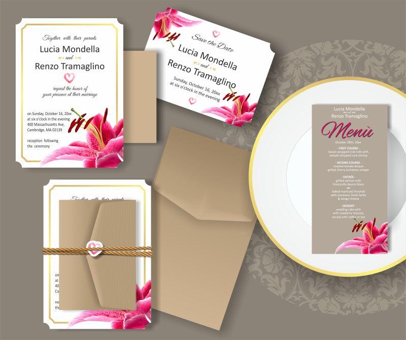 创意矢量粉色百合元素的婚礼请帖设计
