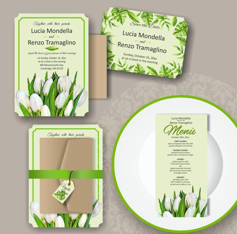 矢量白色花苞元素的装饰卡片设计