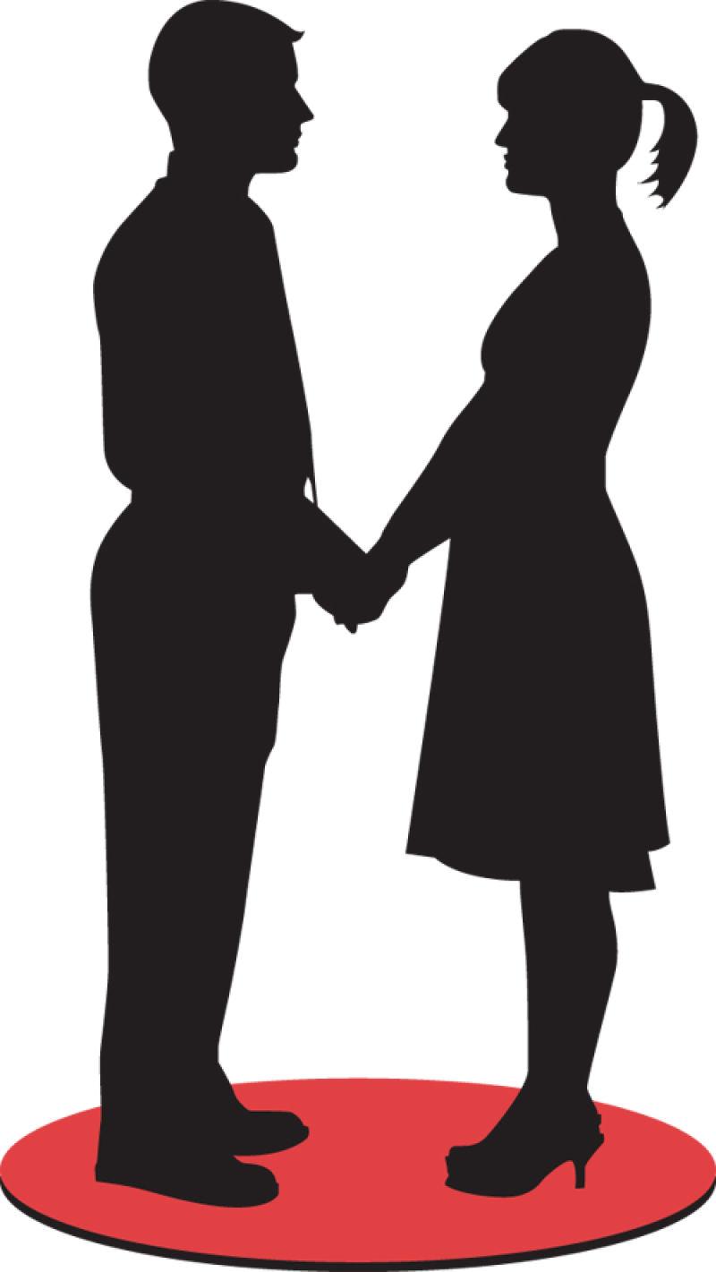 情人节情侣剪影矢量设计